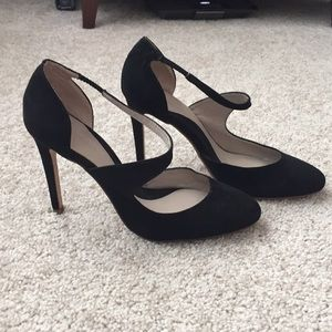 Zara black suede basic heels sz 39